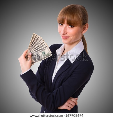 Happy Business Woman holding Money Cash Dollars in  Hands of welcoming smile. Concept of finance success. Isolated, space for text - stock photo