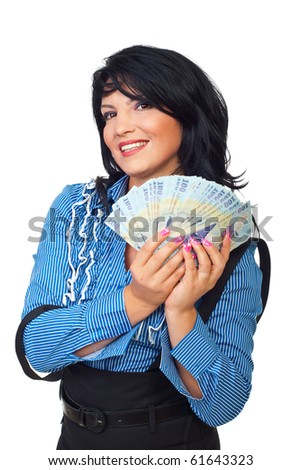 Happy business woman holding Romanian banknotes money isolated on white background - stock photo