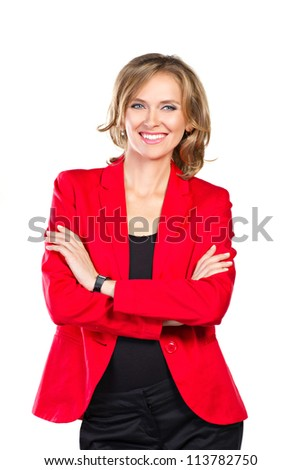 happy business woman in red suit isolated on white - stock photo