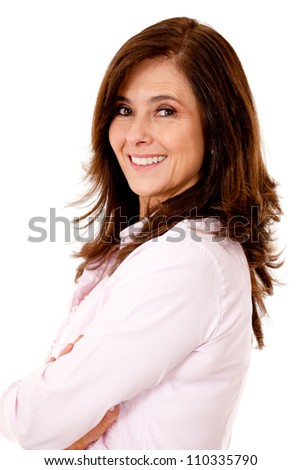 Happy business woman - isolated over a white backgorund - stock photo