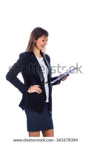 happy business woman looking at folder