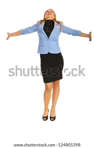 Happy business woman looking up and standing with hands outstretched isolated on white background - stock photo
