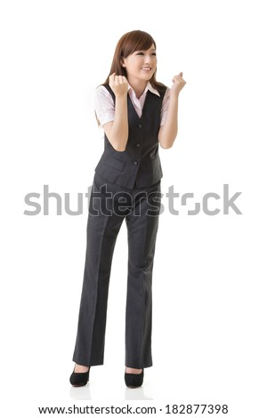 Happy business woman of Asian feel exciting, full length portrait isolated on white background. - stock photo