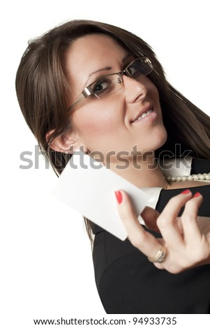 Happy business woman offers business card