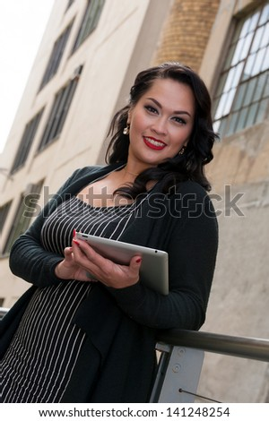 happy business woman on High Line, NYC - stock photo