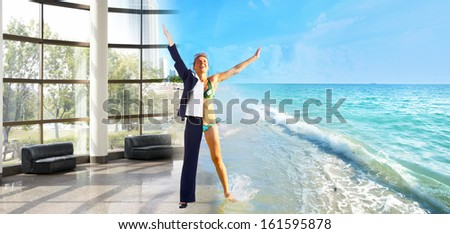 Happy business woman on the beach. Vacation. - stock photo