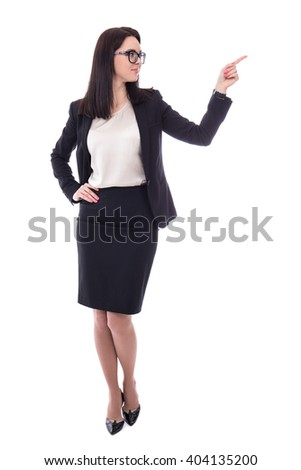 happy business woman pointing at something isolated on white background - stock photo