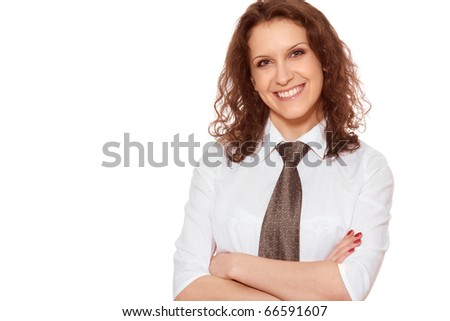 Happy business woman 30s isolated on white background - stock photo