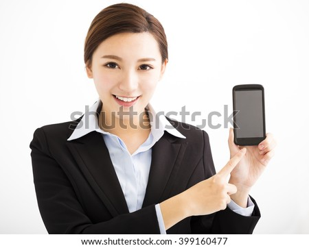happy Business Woman Showing mobile smart phone