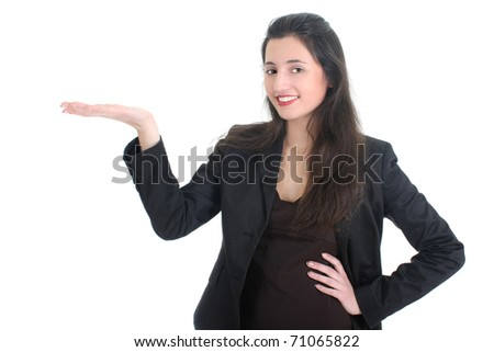 Happy business woman showing something over white - stock photo