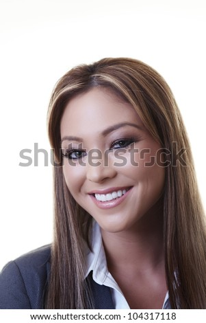 happy business woman smiling at the camera having a good day at work - stock photo