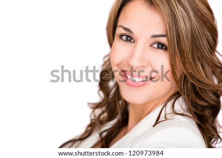 Happy business woman smiling - isolated over a white background - stock photo