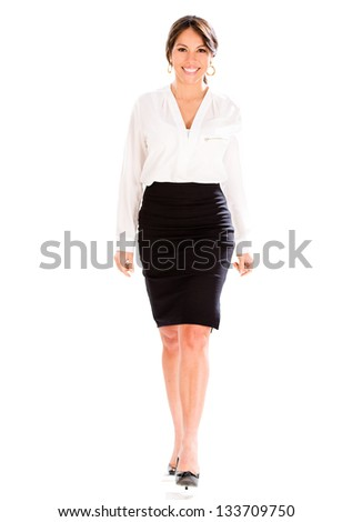 Happy business woman walking - isolated over a white background - stock photo