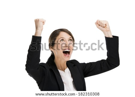Happy business woman with arms on the air, isolated over a white background - stock photo