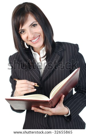Happy business woman with notes