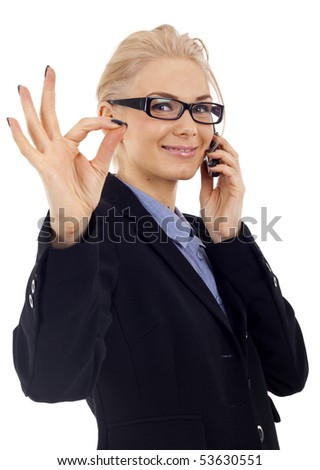 Happy business woman with phone and ok gesture, isolated