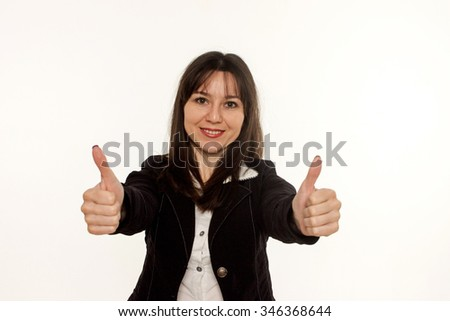 Happy  business woman with thumbs up gesture on white background - stock photo