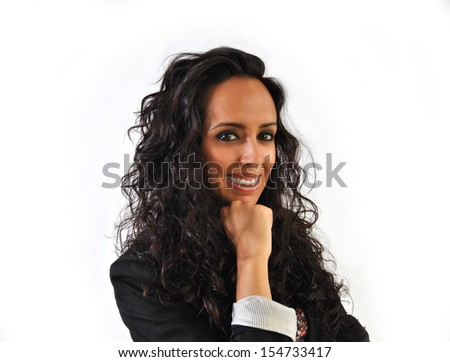 happy business woman with white background and curly hair