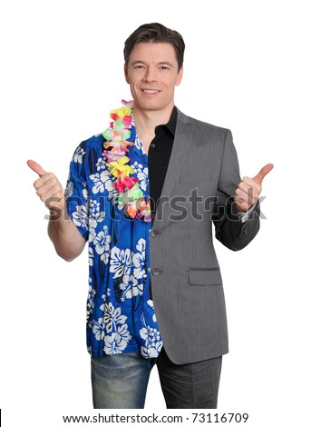 Happy businessman and cheerful lottery winner - stock photo