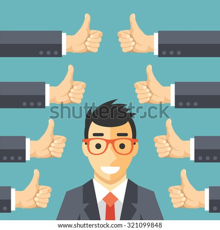 Happy businessman and many hands with thumbs up. Likes and positive feedback concept. Creative flat illustration - stock photo