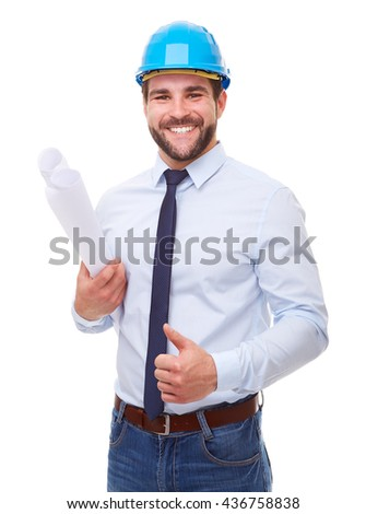 Happy businessman architect makes a gesture with his thumb up on white background - stock photo