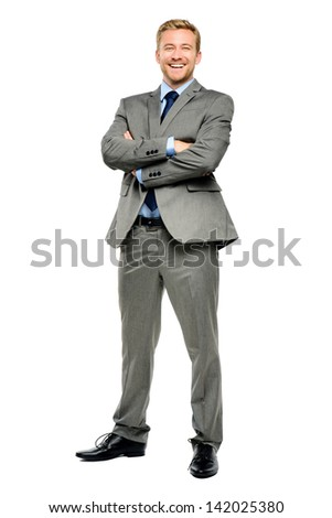Happy businessman arms folded isolated on white - stock photo