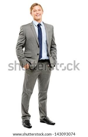 Happy businessman celebrating success isolated on white background - stock photo