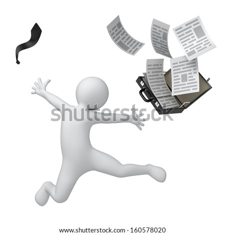 happy businessman, 3d human throws suitcase and tie. isolated on white with a work path - stock photo