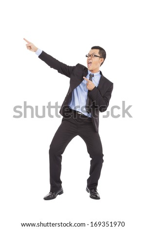 happy businessman dancing  a funny gesture - stock photo