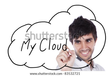 Happy businessman drawing his cloud service on the whiteboard (isolated on white) - stock photo