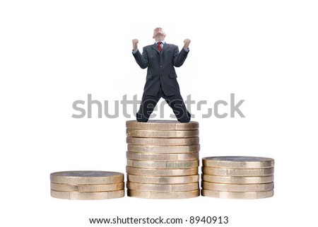 Happy businessman. Full isolated studio picture - stock photo