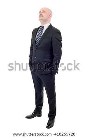 Happy businessman full length isolated on white - stock photo
