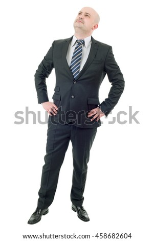 Happy businessman full length, thinking, isolated on white - stock photo