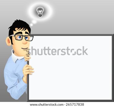 Happy businessman has an idea - stock photo