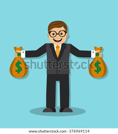 happy businessman holding a bag with money - stock photo