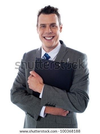 Happy businessman holding a clipboard isolated over white background - stock photo