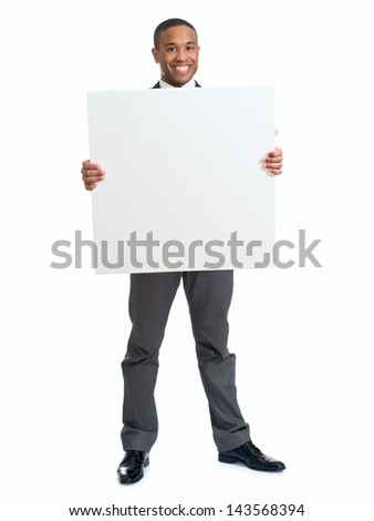 Happy Businessman Holding Blank Placard Over White Background - stock photo