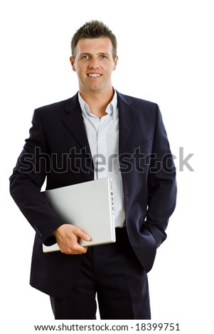 Happy businessman holding laptop computer, smiling, isolated on white - stock photo