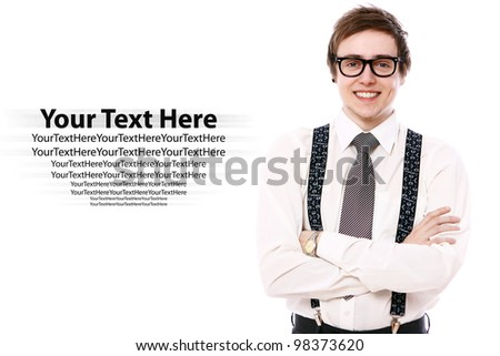 Happy businessman in glasses over white background - stock photo