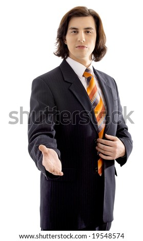Happy businessman in suit on white background
