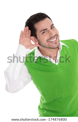 Happy businessman interested in hearing all - stock photo
