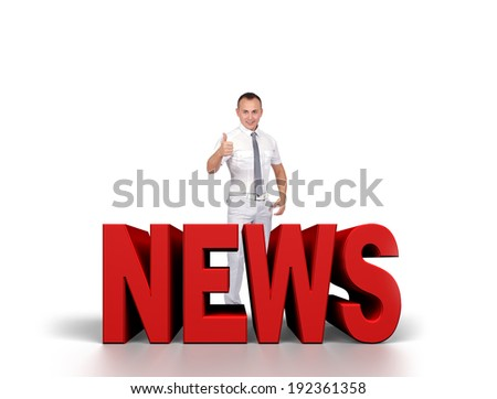 happy businessman is preparing to release news - stock photo