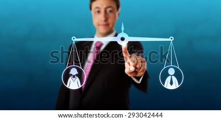 Happy businessman is reaching out to touch a virtual pair of scales that is keeping a female and a male office worker in balance. Business metaphor for gender equality, career and employment issues. - stock photo