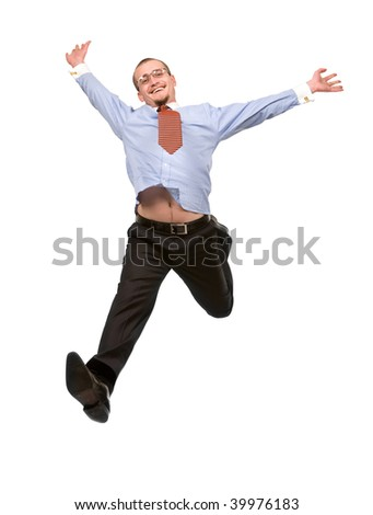 Happy businessman leaping into the air. Isolated
