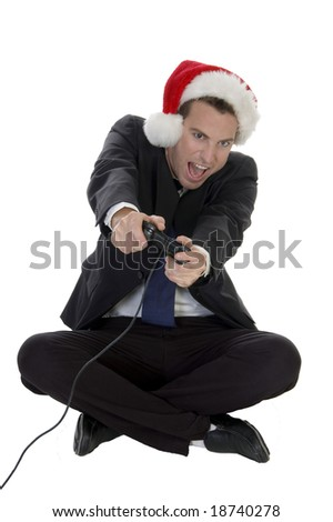 happy businessman playing video game on white background - stock photo