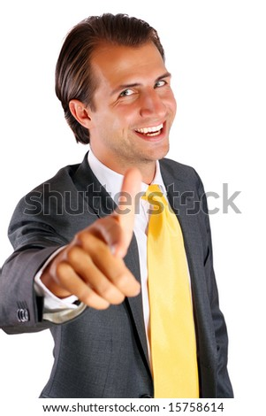 Happy Businessman pointing - stock photo