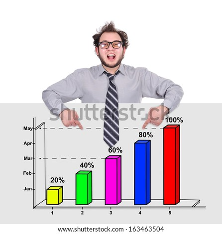 happy businessman pointing to poster with chart