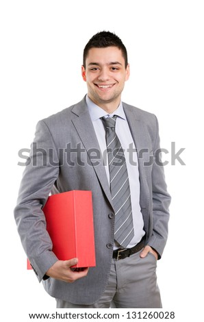 Happy businessman posing with folder in his hands.