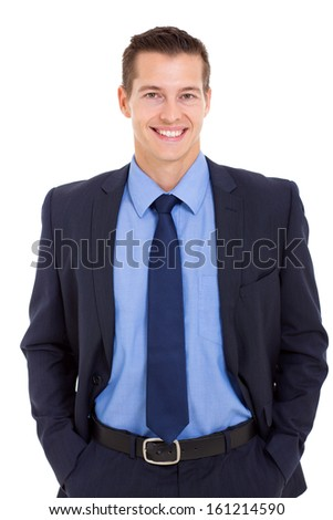 happy businessman posing with hands in his pockets isolated on white - stock photo