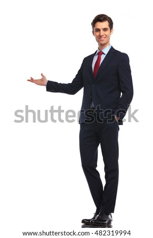 happy businessman presenting something on white background